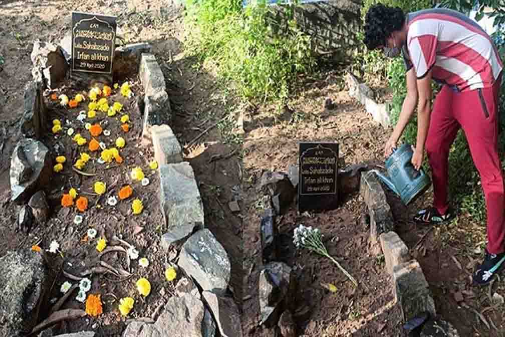 Flowers bloom on Irrfan Khan's grave, after which son Babil shares the picture