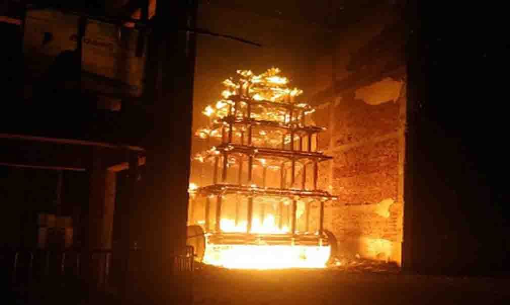 The chariot of Sri Lakshmi Narasimha temple located in East Godavari district caught fire