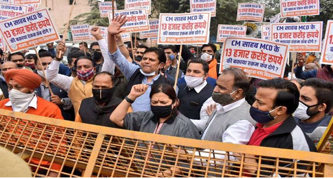 BJP leaders protest against Kejriwal government in all 70 rounds