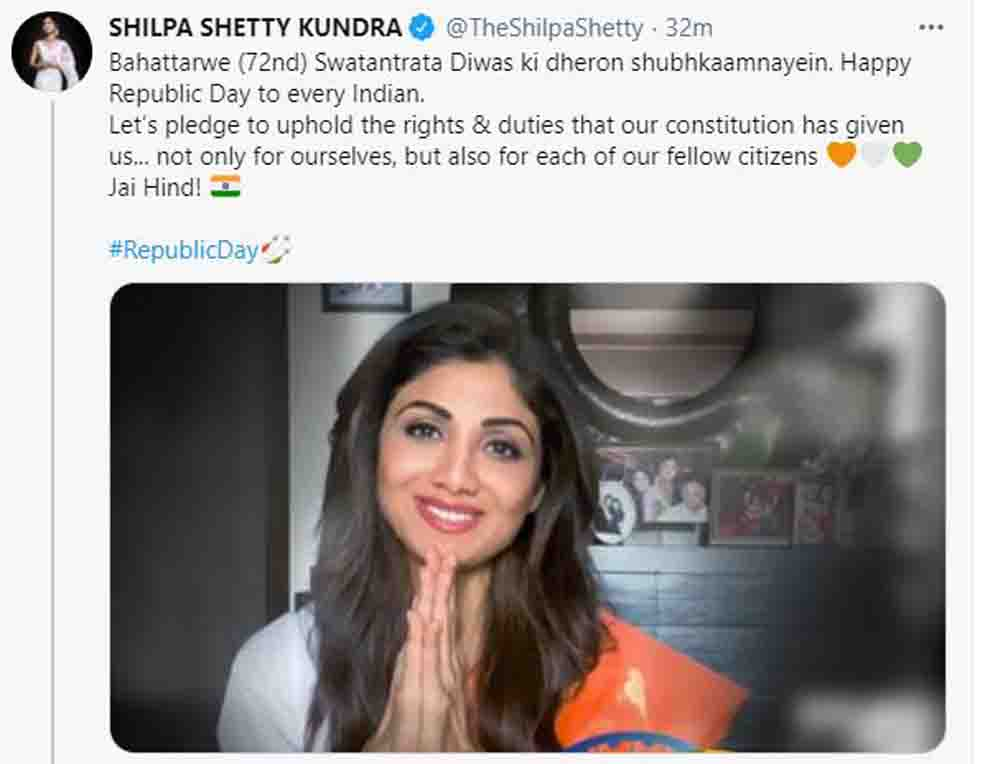 Shilpa Shetty trolled writing independence instead of republic