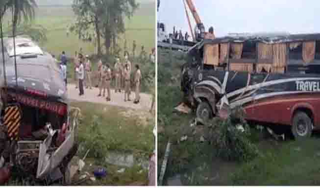 Horrific road accident on Lucknow Agra Expressway in Kannauj, four died