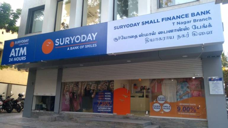 Suryoday Small Finance Bank shares fell four percent